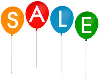 Palloni del partito di vendita isolati sopra fondo bianco Fotografia Stock Libera da Diritti