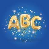 Palloni della lettera dell'oro di ABC Fotografie Stock Libere da Diritti