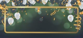 Palloni della stagnola con i coriandoli nel fondo brillante del bokeh Illustrazione realistica di vettore royalty illustrazione gratis