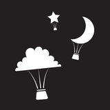 Palloni di aria calda di notte Immagine Stock