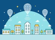 Palloni di Internet che galleggiano sopra la città Fornitura dell'illustrazione di accesso Internet Fotografia Stock
