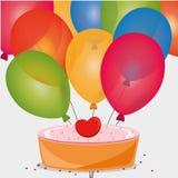 palloni dolci del cuore di compleanno del dolce Fotografie Stock Libere da Diritti