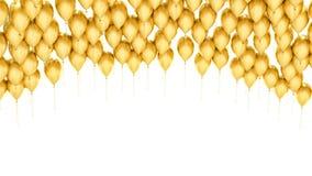 Palloni dorati del partito su fondo bianco Immagini Stock Libere da Diritti