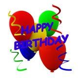Palloni e fiamme di buon compleanno immagine stock