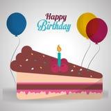 Palloni felici della candela della ciliegia della torta di compleanno con ombra Fotografia Stock