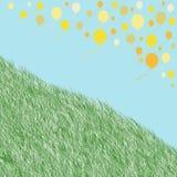 Palloni gialli di galleggiamento ed erba verde su fondo blu Immagine Stock