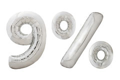 Palloni metallici del cromo di nove per cento su bianco Immagini Stock