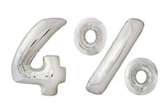 Palloni metallici del cromo di quattro per cento su bianco Fotografia Stock Libera da Diritti