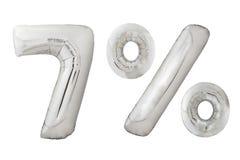 Palloni metallici del cromo di sette per cento su bianco Fotografie Stock