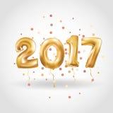 Palloni metallici dell'oro del buon anno Immagini Stock