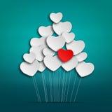 Palloni romantici del cuore Fotografia Stock Libera da Diritti