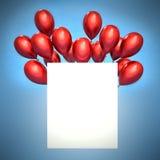 palloni rossi 3d e spazio in bianco bianco Immagine Stock Libera da Diritti