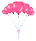Palloni rossi del cuore Fotografia Stock
