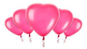 Palloni rossi del cuore Fotografie Stock Libere da Diritti