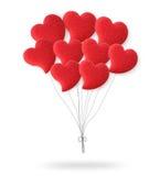 Palloni rossi del cuore di giorno di biglietti di S. Valentino Fotografie Stock