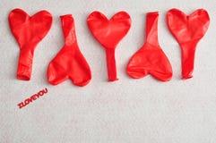 Palloni rossi di forma del cuore Fotografia Stock Libera da Diritti
