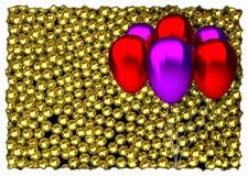 Palloni rossi e porpora di compleanno con lucido Fotografie Stock Libere da Diritti
