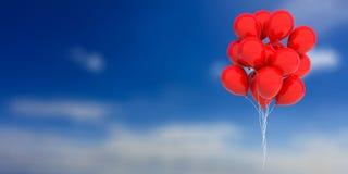 Palloni rossi sul fondo del cielo blu illustrazione 3D illustrazione di stock