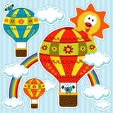 Palloni su cielo blu Immagini Stock Libere da Diritti