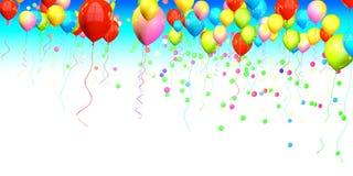 Palloni variopinti che aumentano su Fotografia Stock
