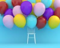 Palloni variopinti che galleggiano con la sedia bianca sul backgr blu di colore immagine stock