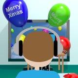 Palloni variopinti con natale allegro dallo schermo di computer 3d Illust illustrazione vettoriale