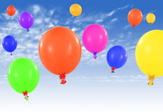 Palloni variopinti sul cielo Fotografia Stock Libera da Diritti
