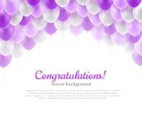 Palloni viola di volo dell'insegna di congratulazione Fotografie Stock Libere da Diritti