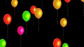 Palloni volanti variopinti senza cuciture di festa con l'alfa canale archivi video