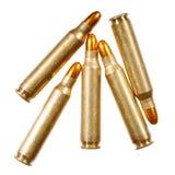 Pallottole del fucile su un fondo bianco Immagini Stock
