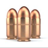 Pallottole della pistola su fondo bianco Fotografie Stock
