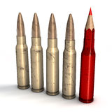 Pallottole e penna rossa Fotografia Stock