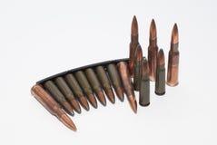 Pallottole 54R SVD e clip 7 dell'estrattore 62 x 39 SKS Fotografie Stock