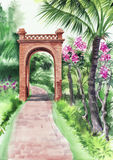 Palm bamboo oasis with decorative brick gate Royalty Free Stock Photos