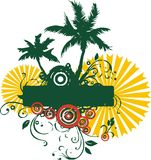 Palm beach. Graphic design theme with tropical palm summer sun stock illustration