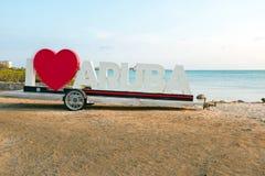 PALM BEACH, ARUBA - APRIL 14, 2016 - Since the I Love Aruba sign Stock Photo