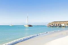Palm Beach at Aruba Island. In the Caribbean Stock Photos