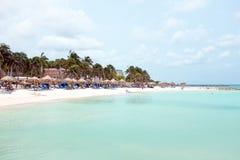Palm beach on Aruba island in the Caribbean Royalty Free Stock Photography