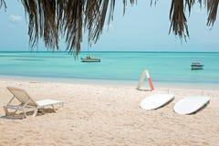 Palm Beach on Aruba island in the Caribbean. Sea Royalty Free Stock Photos