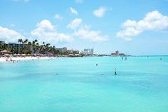 Palm beach on Aruba island in the Caribbean Royalty Free Stock Photo