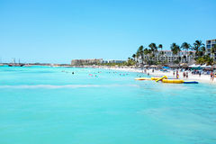 Palm Beach at Aruba island. In the Caribbean Sea Royalty Free Stock Image