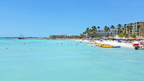 Palm beach on Aruba island. In the Caribbean Sea Royalty Free Stock Photos