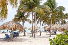 Palm beach on Aruba island Stock Photo