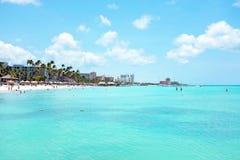 Palm beach on Aruba island Royalty Free Stock Photo