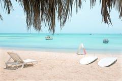 Palm beach on Aruba island Royalty Free Stock Photography