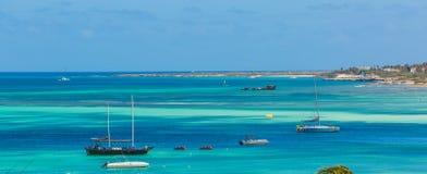 Palm beach at Aruba island Royalty Free Stock Photo