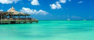 Palm beach at Aruba island Stock Image