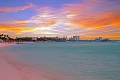 Palm Beach on Aruba island at sunset Royalty Free Stock Photo
