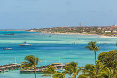 Palm Beach at Aruba. View from Hotel Stock Images