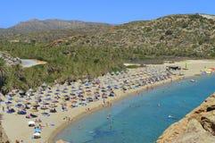 Palm beach crete greece Stock Image